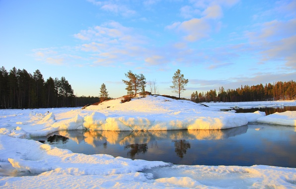 Picture winter, forest, the sky, water, snow, nature, river, photo