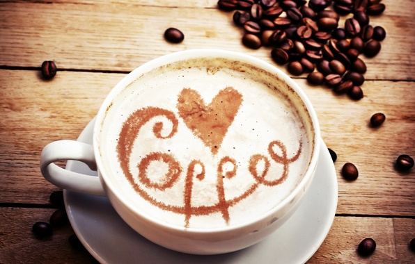 Picture love, heart, coffee, grain, Cup, love, heart, coffee