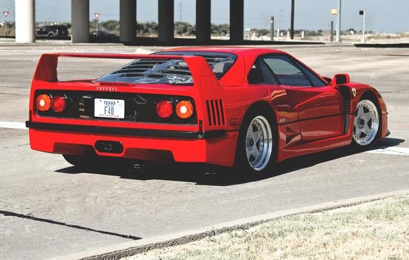 Picture red, street, Ferrari, red, Ferrari, street, back, f40, F40