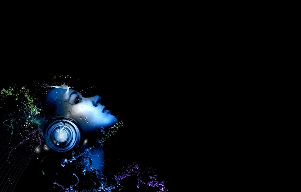 Picture BACKGROUND, GIRL, WATER, DROPS, BLACK, SQUIRT, FACE, HEADPHONES
