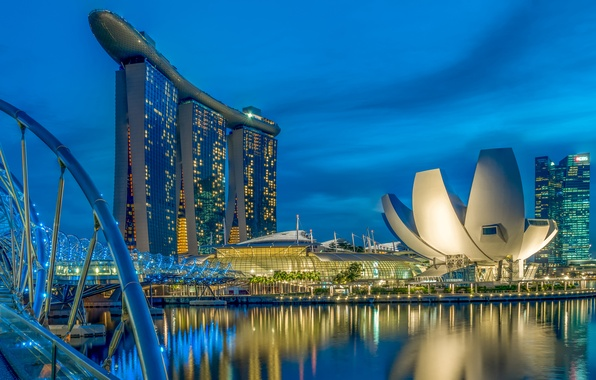 Picture night, bridge, lights, home, Singapore, the hotel