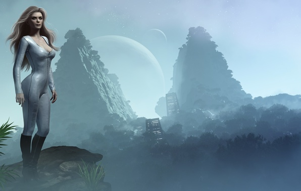 Picture girl, mountains, open, building, planet, render