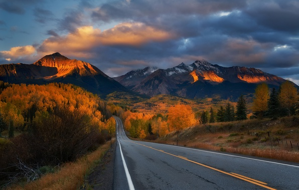 Photo wallpaper sunset, mountains, road