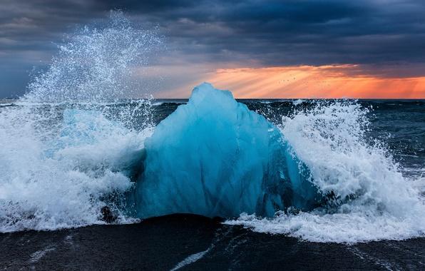 Picture wave, beach, squirt, ice, Iceland, the glacial lagoon of Jökulsárlón