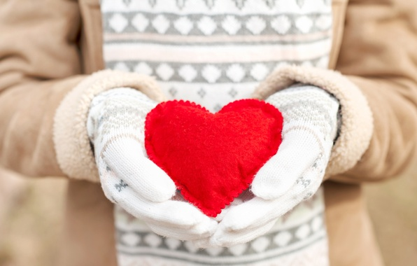 Picture winter, love, heart, love, heart, winter, mittens, romantic, sweet, hands