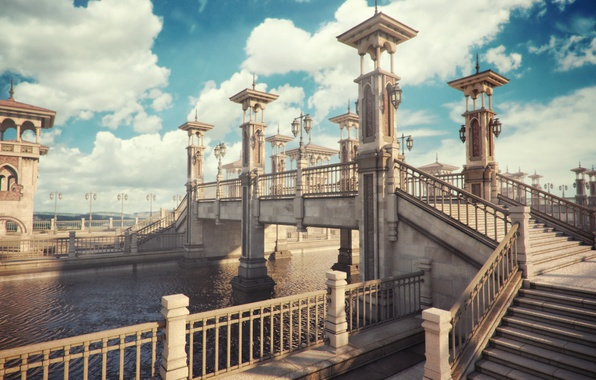 Picture clouds, bridge, the city, river, the fence, lights, channel, stairs, render