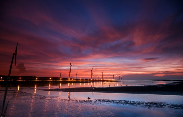 Picture the sky, water, clouds, light, sunset, lights, reflection, The evening, windmills, blue