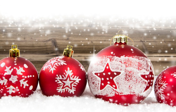 Picture winter, balls, Christmas, red, New year, Christmas, Winter, New Year, decorations