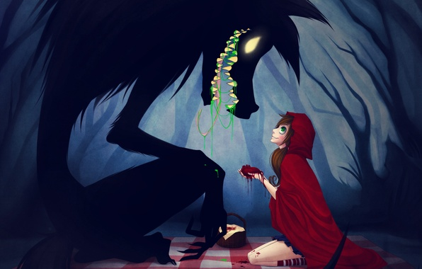 Picture forest, girl, cloak, wolf. heart, Little red riding hood, Red riding hood