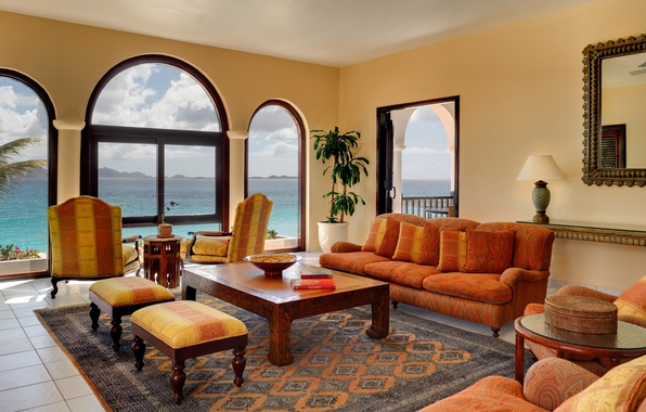 Picture design, table, room, sofa, carpet, Windows, interior, pillow, mirror