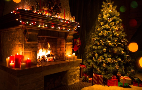 Picture fire, tree, candles, Christmas, gifts, New year, flame, tree, fireplace, garland