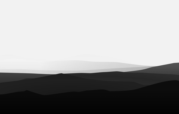 Picture wave, white, mountains, mood, black