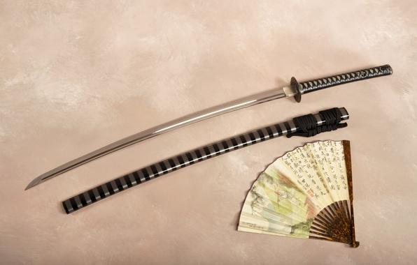 Picture sword, katana, fan, sheath