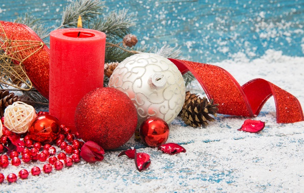Picture Snow, New Year, Candle, Balls, Balls, Decoration, Holidays, Bump