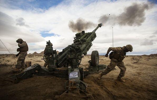 Picture field, soldiers, volley, artillery, howitzer, 155 mm, M777, Howitzer