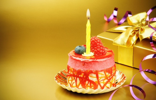 Picture gift, candle, cake, bow, happy birthday, happy birthday