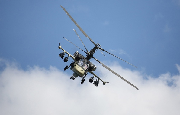 "Picture the sky, clouds, flight, helicopter, blades, Russian, Ka-52, shock, ""Alligator"""