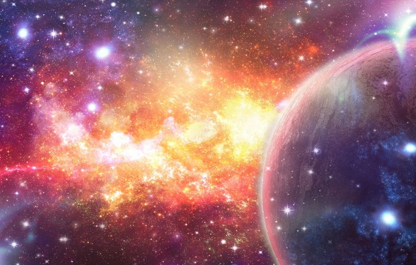 Picture space, stars, nebula, abstraction, planet, art