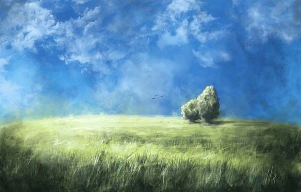 Picture field, the sky, grass, clouds, trees, birds, nature, art