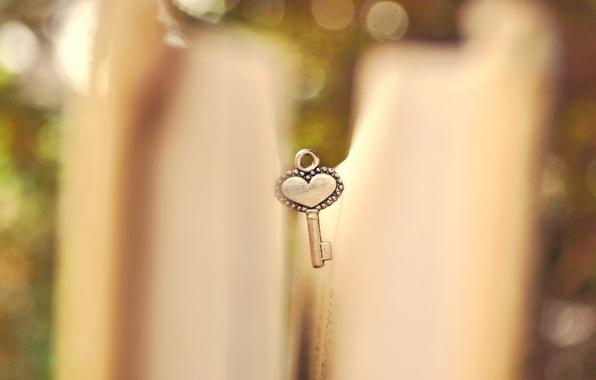 Picture macro, heart, blur, key, book, heart, page, bokeh, key