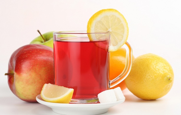 Picture lemon, tea, Apple, Cup, sugar, fruit