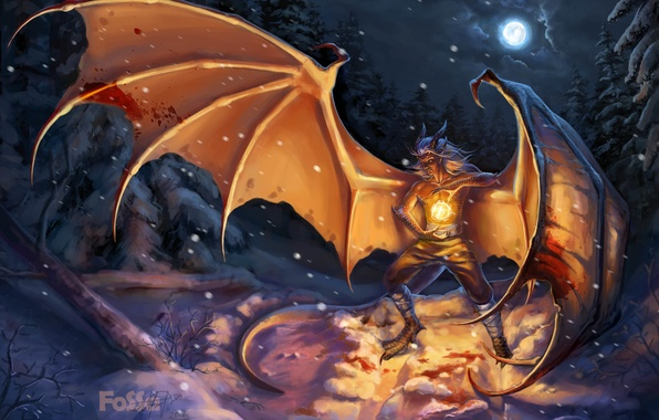 Picture winter, the sky, snow, night, fiction, fire, magic, the moon, dragon, ball, wings, scales, art, …