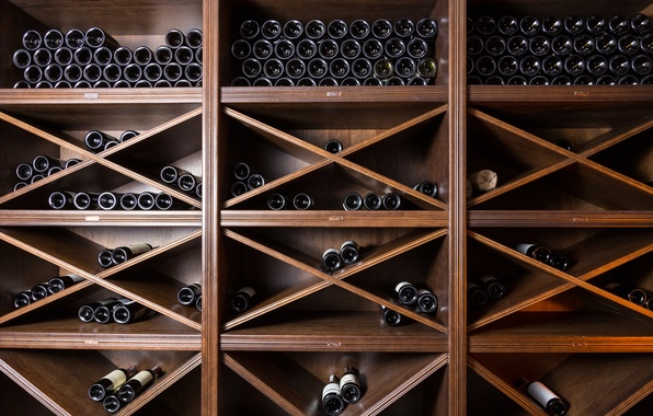 Picture wood, wine bottles, personal cellar