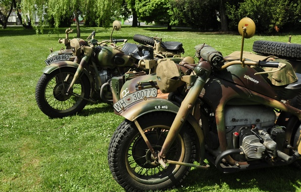 Picture motorcycles, war, military, world, Second, times