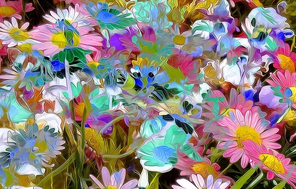 Picture flowers, nature, rendering, plant, petals, garden, meadow