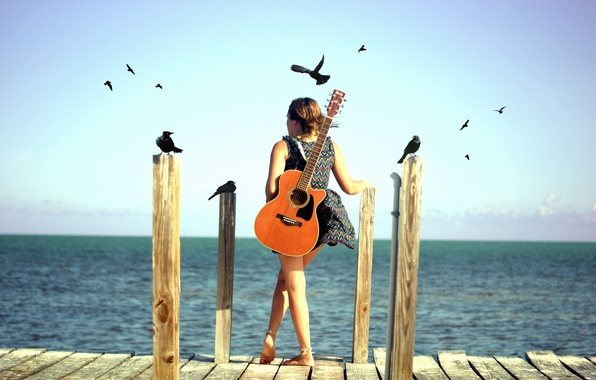 Picture sea, girl, birds, mood, guitar