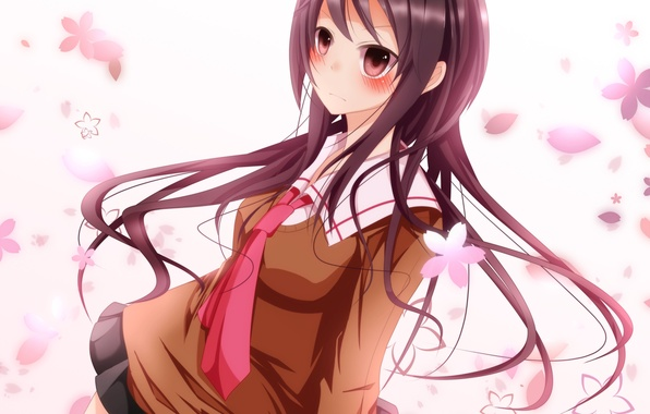 Picture girl, flowers, anime, petals, art, tie, blush, schoolgirl, school uniform, bloodcatblack