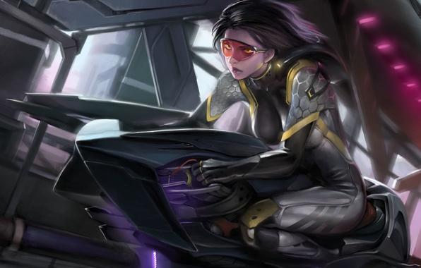 Picture girl, transport, art, glasses