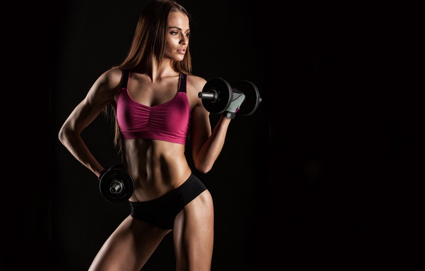 Picture black, female, workout, fitness, dumbbell, sportswear, bodybuilder