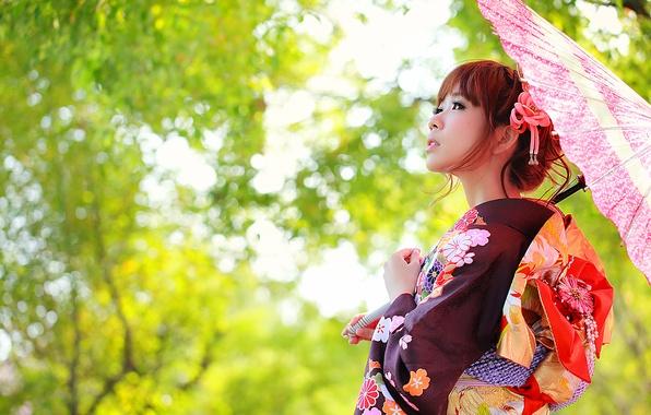 Picture face, umbrella, clothing, kimono, Asian