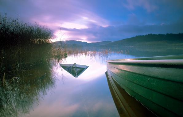 Picture sunset, lake, boat, boats, the evening, reed, sunken