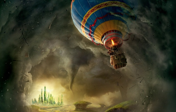 Picture balloon, castle, fantasy, tornado, hurricane, flies, poster, gondola, in the air, magic, country, James Franco, …