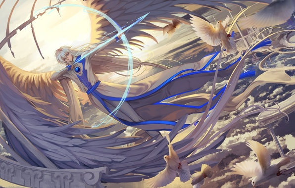 Wallpaper the sky, clouds, birds, weapons, anime, bow, art