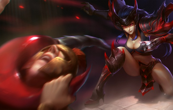 Picture chest, girl, warrior, hon, art, Heroes of Newerth, Slither, Red Scorpio
