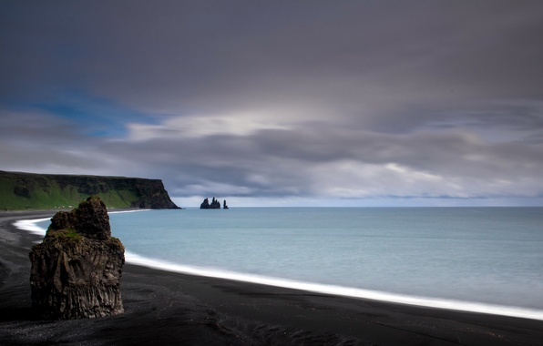Picture sea, landscape, iceland, Reynisfjara beach, Reynisdrangar