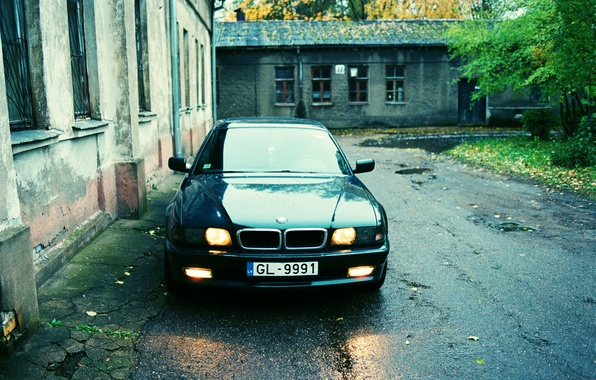 Picture autumn, the city, lights, home, the evening, yard, the bandits, wet asphalt, Boomer, seven, e38, …
