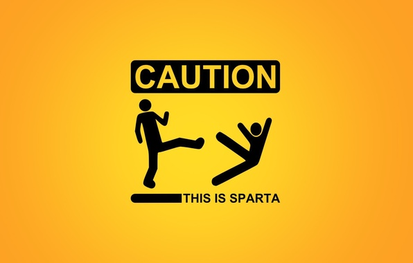 Picture the inscription, warning, Sparta