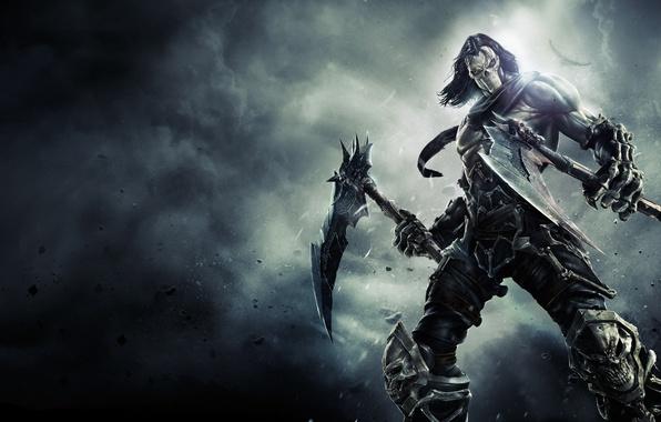 Picture smoke, dust, mask, bones, Death, rider, Raven, horseman of the Apocalypse, braids, death, Darksiders 2, …