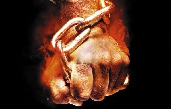 Picture background, fire, flame, black, hand, chain, fist