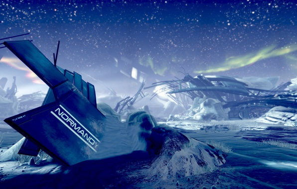 Picture space, stars, snow, ship, planet, the crash, the skeleton, ruins, mass effect 2, Normandy, normandy