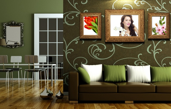 Picture room, sofa, pictures, Dining room, the wall