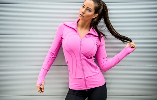 Picture look, girl, face, background, hair, figure, braid, sports wear