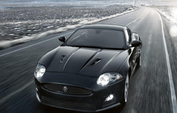 Photo wallpaper the way, speed, Jaguar, XKR, auto, road