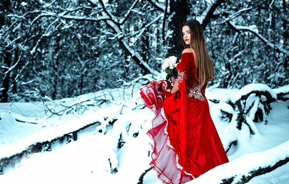 Picture winter, forest, girl, snow, roses, bouquet, dress, in red, Cold Red