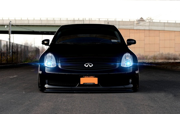 Picture Machine, Tuning, Black, Infiniti, Car, Infiniti, Car, Black, Wallpapers, Tuning, Beautiful, Wallpaper, The front, Voss, …
