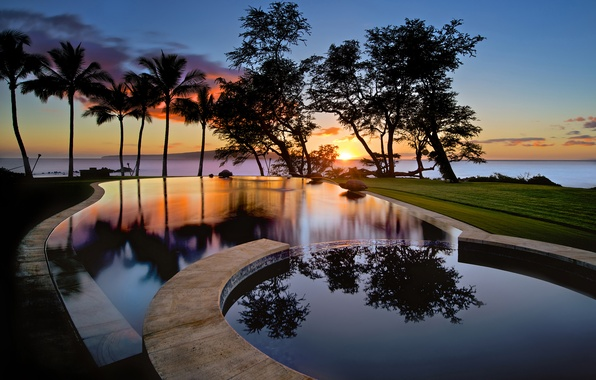 Picture the sky, water, clouds, reflection, trees, sunset, palm trees, island, pool, USA, silhouettes, Hawaii, Maui, …